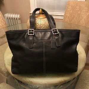 Coach Gorgeous Black Leather Tote Good Condition